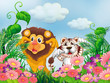 A garden with a lion and a tiger