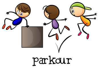 Stickmen playing parkour