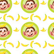 A seamless design with monkeys and bananas