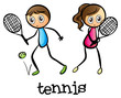 A girl and a boy playing tennis