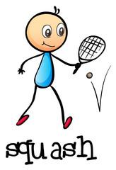 A stickman playing tennis