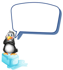 A penguin above an icecube with an empty callout
