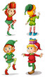 Four playful Santa elves