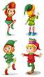 Four playful Santa elves