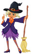 An old witch holding a broomstick