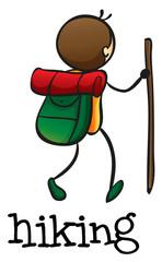 A stickman hiking