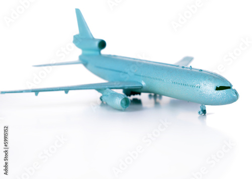 Plastic airplane isolated on white