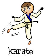 A stickman doing karate