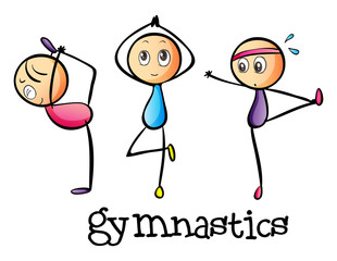 Stickmen doing gymnastics