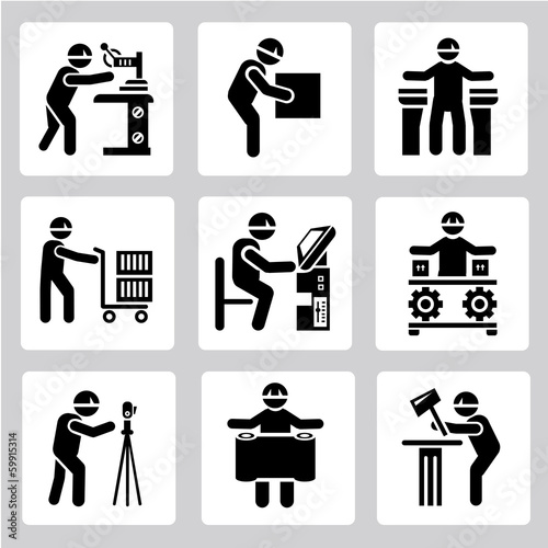 technician people set, industrial worker icons set
