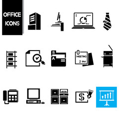office icons set, business and office supplies