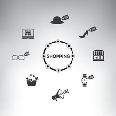 shopping icons, info graphic, shopping mind mapping