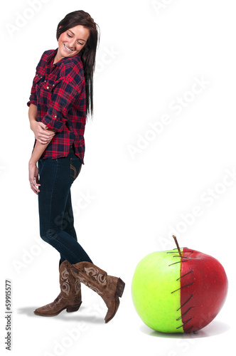 Woman with a Stitched Apple