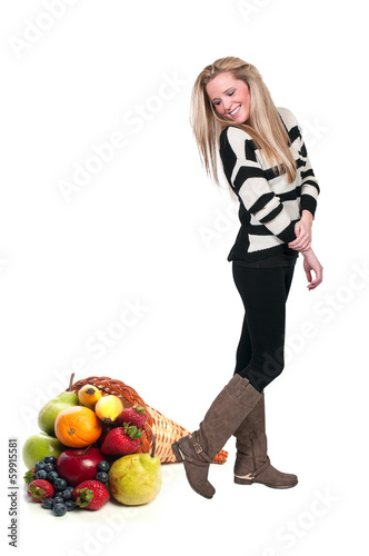 Beautiful Woman and Cornucopia