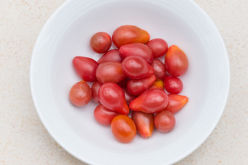 Red Pear cherry tomatoes in a bowl