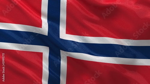 Flag of Norway waving in the wind - seamless loop