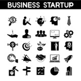 business startup icons, business growth icons poster
