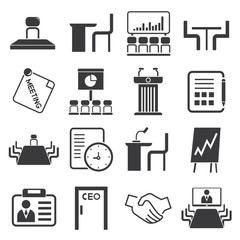 business meeting icons, business conference icons