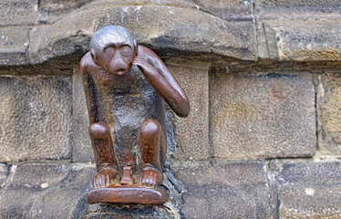 statue of monkey on Grand Place of Mons