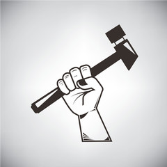 hand and hammer symbol, labor concept