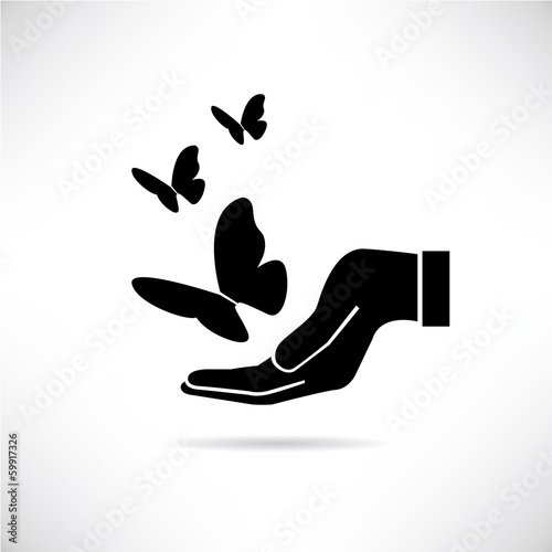 hand holding butterfly, peaceful concept