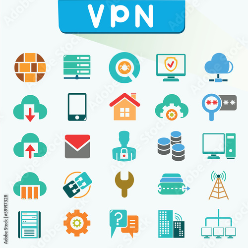 virtual private network icons, color icons, VPN, vector set