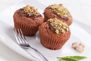 Muffin con cioccolato e pistacchio