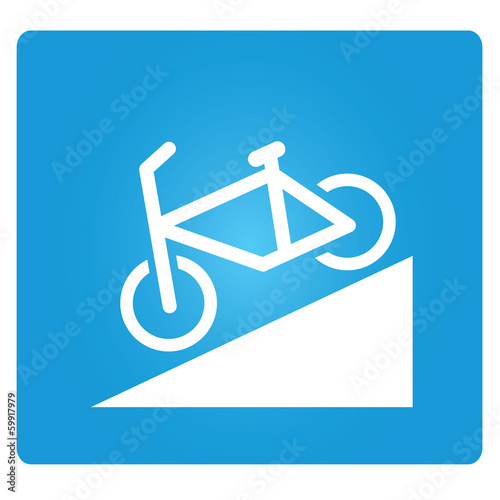 Beware of Steep Way, bicycle down way symbol