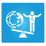 business man and global world on balance symbol