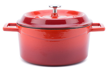 Red cooking pot with cover isolated on white background