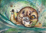 Snail with his house.Picture created with watercolors.