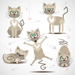 Cartoon cats in motion and emotion