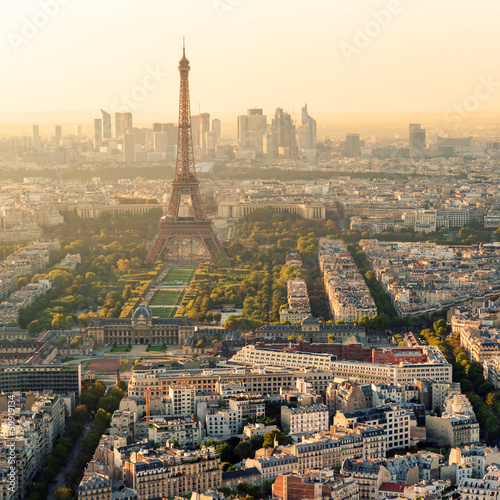 The Eiffel tower in Paris at sunset