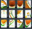 Indian flag brochure stylish wave template collection illustrati