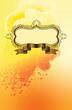 figured frame on grange yellow background