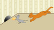 red cat catches up the fleeing mouse