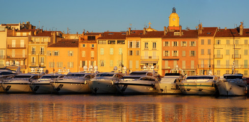 Harbour of Saint Tropez in the evening light