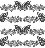 Butterfly and floral black lace seamless pattern