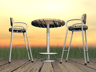 Relaxation at the terrace - 3D render
