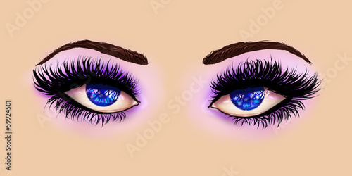Blue eyes with purple eyeshadows
