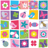 birds bees ladybugs butterflies fish and flowers pattern