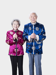 senior chinese couple in traditional costume
