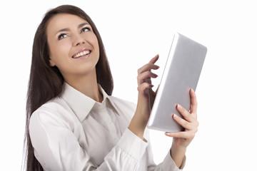 Nice girl with pad