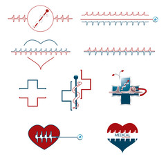 Set of medical creative icons