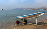 Lifeguard boat at the golden beach in Eilat