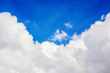 blue sky with white big cloud