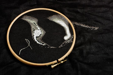 Cross stitching process on the black flax fiber
