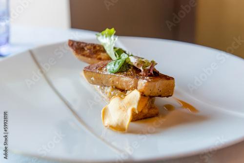 Fotobehang Salade Foie gras poêlé sur toast