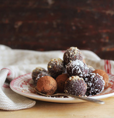 Homemade chocolate truffles with nuts