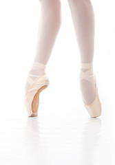Photo of beautiful ballerina's feet during ballet dance